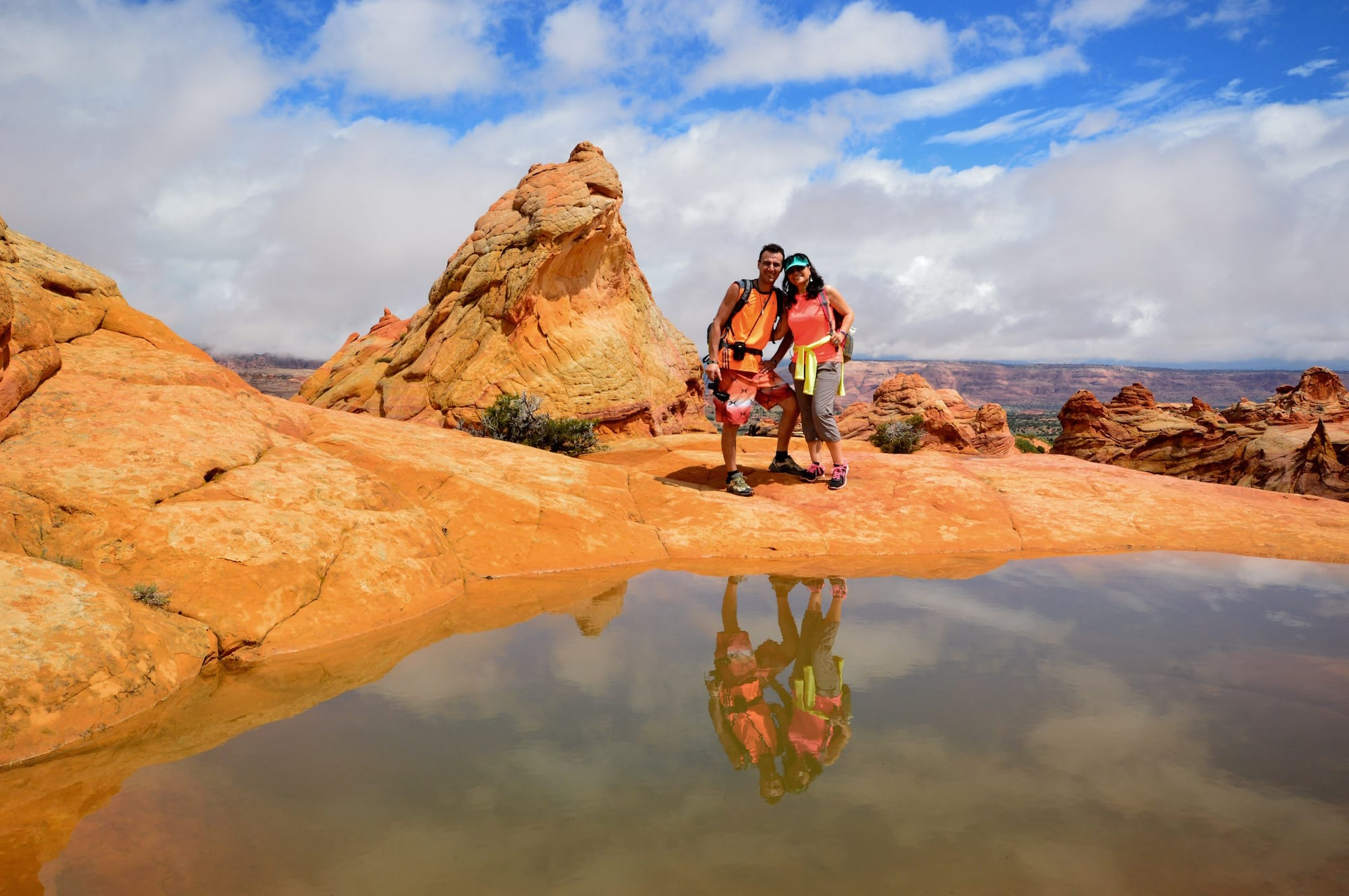 Women pose during South Coyote Buttes tour